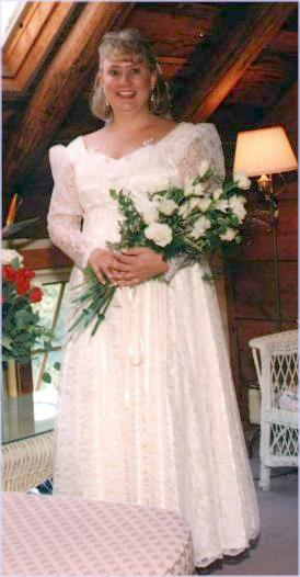 On her wedding day, September 1994